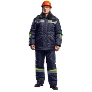 """Костюм мужской куртка/полукомбинезон """"КОМФОРТ"""" (темно-синий/неоновый) Класс защиты: 2 (III климатический пояс)."""