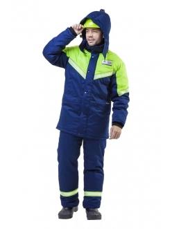 Костюм мужской Илион синий/нионовый (Куртка и полукомбинезон)