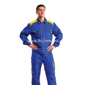 Куртка мужская Алатау (васильковый/желтый) Саржа, хлопок 100%, пл. 250 г/м², ВО