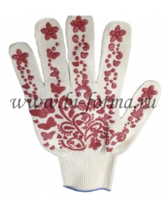 Перчатки х/б с ПВХ нанесением «Цветы»