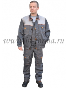 Костюм ЛИДЕР куртка/полукомбинезон  т.серый/серый