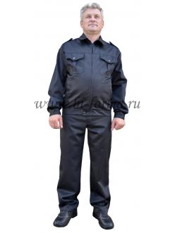 Костюм для охранника № 113 (черный) куртка и брюки, на молнии
