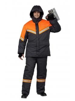 Костюм мужской Илион (графит/оранж) куртка и полукомбинезон